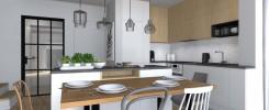 ładny salon z kuchnią; piękna kuchnia; nowoczesny styl w kuchnii