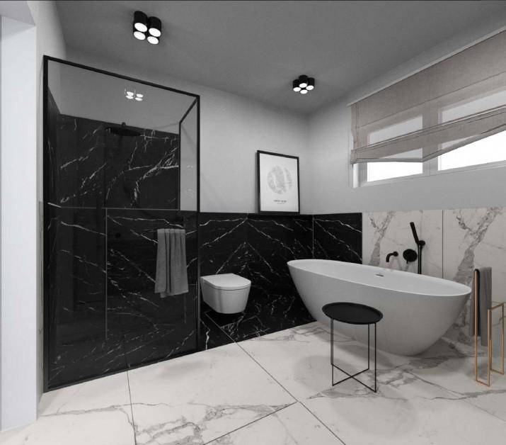 nowoczesna łazienka; wanna wolnostojąca; marmurowe kafle; kabina z czarnym obramowaniem