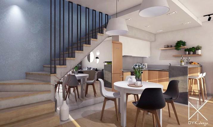 nowoczesny salon; ładna aranżacja salonu z kuchnią